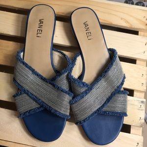 Vaneli slide sandal, blue and silver